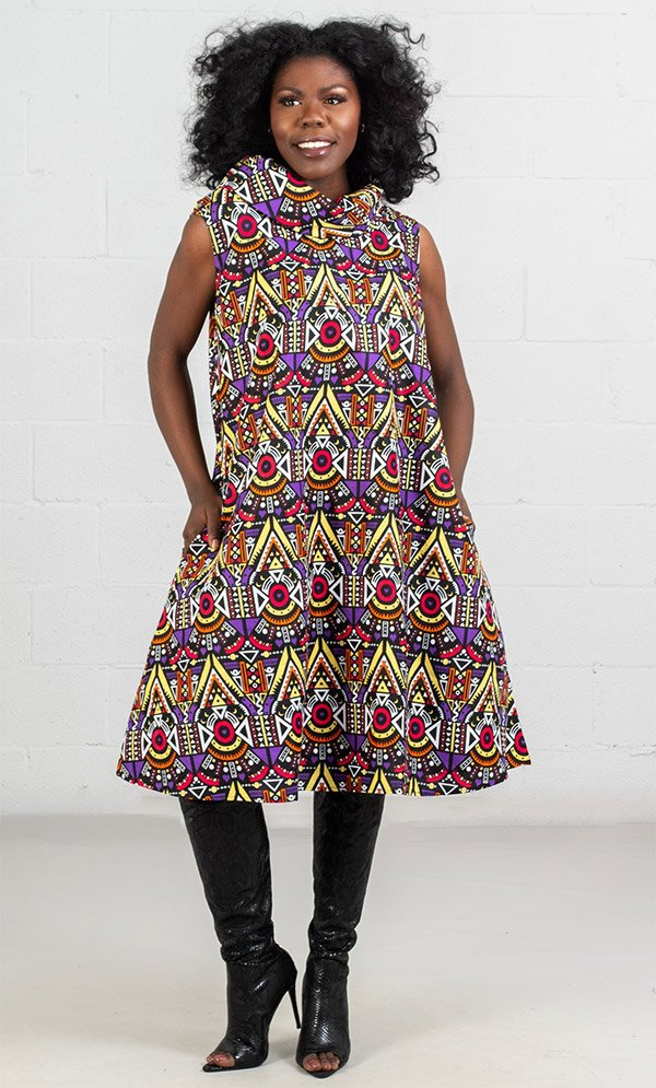 KaraChic 7217  - Sleeveless Cowl Neck A-Line Dress In African Print Style Colors