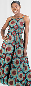KaraChic 7238 - Ladies Smocked Dress In African Print Design With Adjustable Strap & Back Pocket
