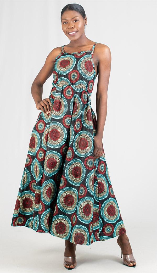 KaraChic 7238 - Ladies Smocked Dress In African Print Design With Adjustable Strap & Back Pocket