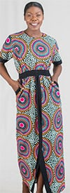 KaraChic 7247 - Ladies Elastic Waist Column Dress In African Print Design