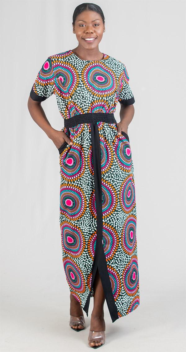 KaraChic 7247 - Ladies Elastic Waist Column Dress In African Print Design