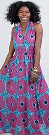 KaraChic 7249P - Ladies (Long) Maxi Halter Dress In Bold Color Print