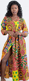 KaraChic 7256  - Womens African Print Style Button Cuff Mock Wrap Dress