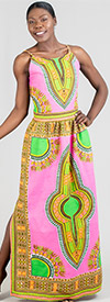 KaraChic 7260 - Womens African Print Side Split Maxi (Long) Dress