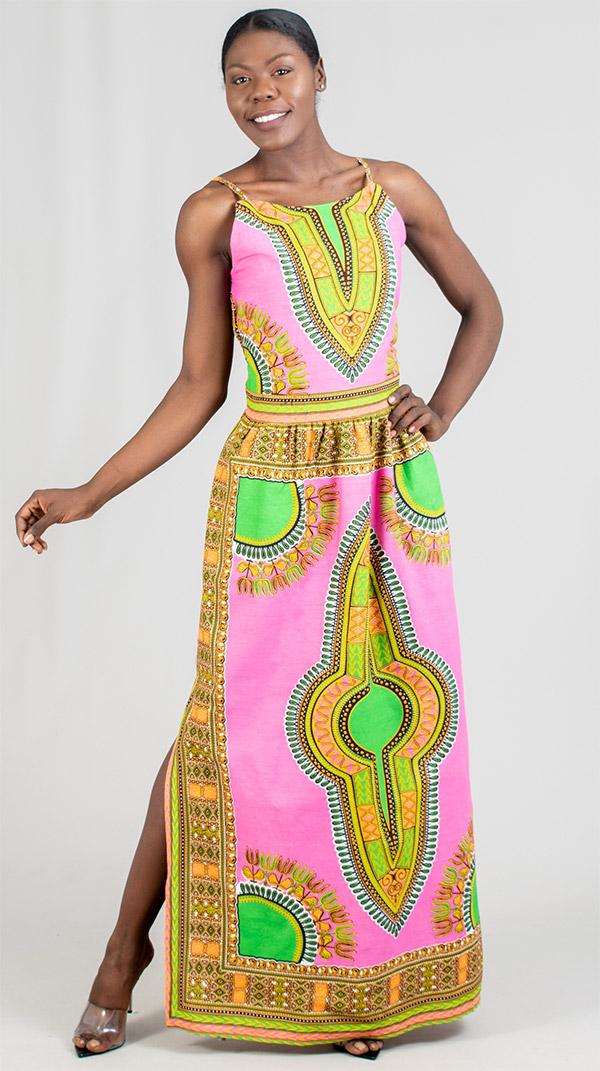 KaraChic 7260 - Womens African Print Side Split Maxi (Long) Dress
