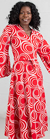 KaraChic 8001-RedWhite  - Bell Sleeve Wrap Dress With Sash Printed In African Style Design
