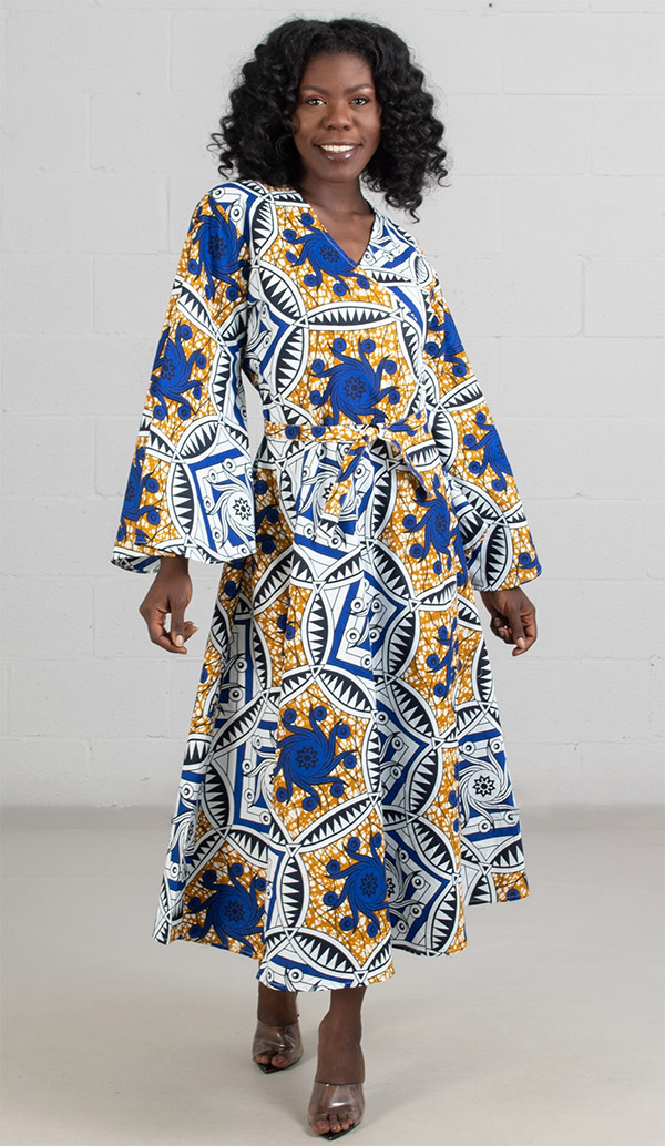 KaraChic 8001-BlueWhiteGold  - Bell Sleeve Wrap Dress With Sash Printed In African Style Design