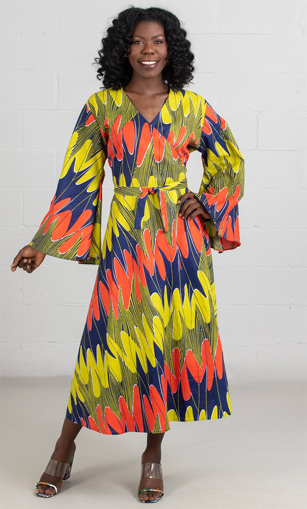 KaraChic 8001-BlueMulti  - Bell Sleeve Wrap Dress With Sash Printed In African Style Design