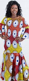 KaraChic 9008NP  - Smocked Drop Waist Dress In African Print Style Colors
