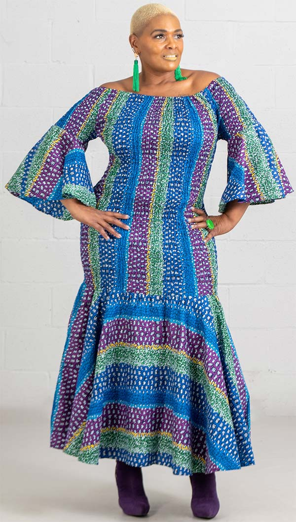 KaraChic 9008NP-Blue/Green/Purple  - Smocked Drop Waist Dress In African Print Style Colors
