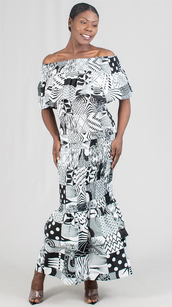 KaraChic 9010 - Ladies Smocked Mermaid Skirt Set With Off Shoulder Top In Multi Pattern Print