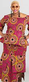 KaraChic 9014S-PinkOrange - Womens Two Piece Smocked Dress With Bell Sleeves