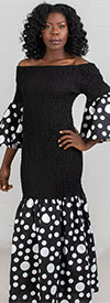 KaraChic 9025-Black/White - Polka-Dot Flounce Trimmed Off Shoulder Neckline Drop Waist Smocked Dress