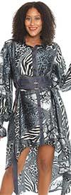 KaraChic 9035-Blue - Womens Animal Print High-Low Dress With Denim Trim