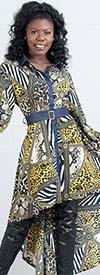 KaraChic 9035-Yellow - Womens Animal Print High-Low Dress With Denim Trim