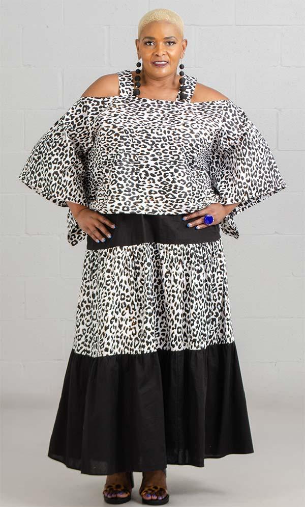 KaraChic 9037-LeopardPrint - Womens Cold Shoulder Top