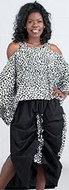 KaraChic 9037-LeopardPrint - Womens African Style Print Cold Shoulder Top