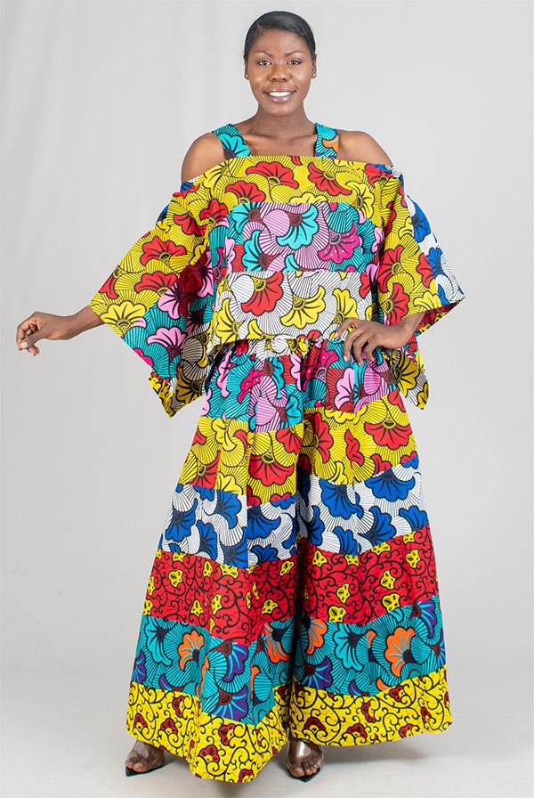 KaraChic 9037-MultiPrint - Womens African Style Print Cold Shoulder Top