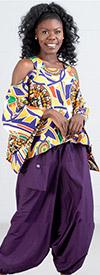 KaraChic 9037-PurpleGold - Womens African Style Print Cold Shoulder Top