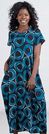 KaraChic CHH19070  - Short Sleeve Ladies Printed Long (Maxi) Dress