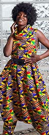 KaraChic 251NP-Kente/Multi Print - Womens African Inspired Print Sleeveless Roll Neck Convertible Jumpsuit / Dress