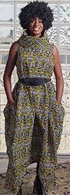 KaraChic 251NP-Yellow/Black/White Print - Womens African Inspired Print Sleeveless Roll Neck Convertible Jumpsuit / Dress