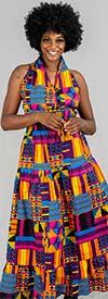 KaraChic 5005-Gold / Blue / Purple - Womens Sleeveless Long (Maxi) Halter Dress In African Style Print
