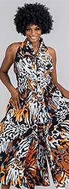 KaraChic 5011-Multi Animal - African Inspired Print Womens Sleeveless Button-Front Jumpsuit
