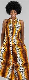 KaraChic 5011-Tiger - African Inspired Print Womens Sleeveless Button-Front Jumpsuit