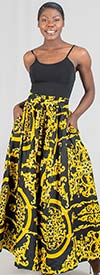 KaraChic 7001-Black/Gold - Womens African Print Maxi (Long) Skirt With Elastic Waist & Sash