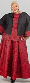 KaraChic 7001-RedBlack - Womens African Print Maxi (Long) Skirt With Elastic Waist & Sash