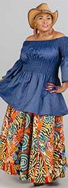 KaraChic 7001-532 - Womens African Print Maxi (Long) Skirt With Elastic Waist & Sash