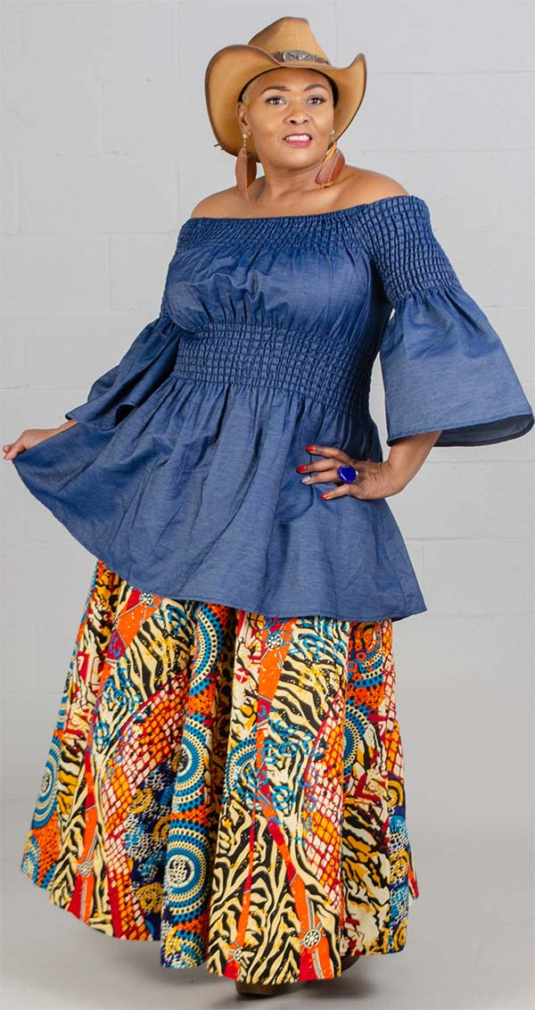 KaraChic 7001-532 - Womens African Print Maxi (Long) Skirt With Elastic Waist & Sash