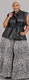 KaraChic 701-Leopard Print - Womens Animal Print Wide Leg Pants With Pockets