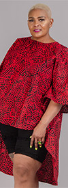KaraChic 7551-Red / Black - African Style Print Womens High-Low Top