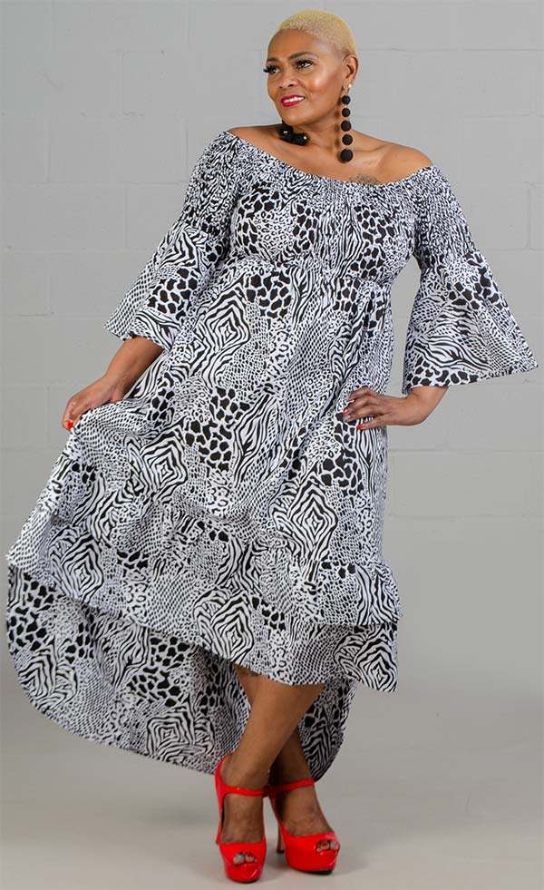 KaraChic 7552-Leopard - Womens Bell Sleeve High-Low Smocked Dress In Print Design