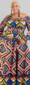 KaraChic 7556-Yellow/Pink/Blue - Bell Sleeve Smocked Waist Dress In African Inspired Print