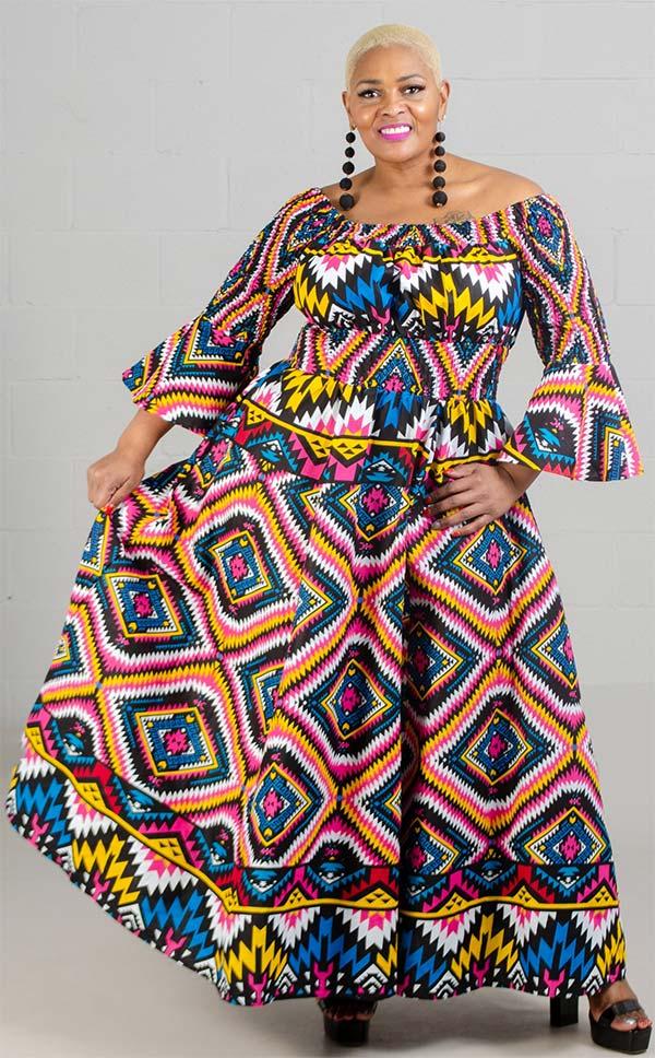 KaraChic 7556-Yellow/Pink/Blue - Bell Sleeve Smocked Waist Dress In African Inspired Print