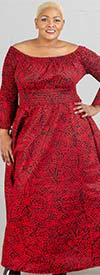 KaraChic 7556-Red/Black - Bell Sleeve Smocked Waist Dress In African Inspired Print