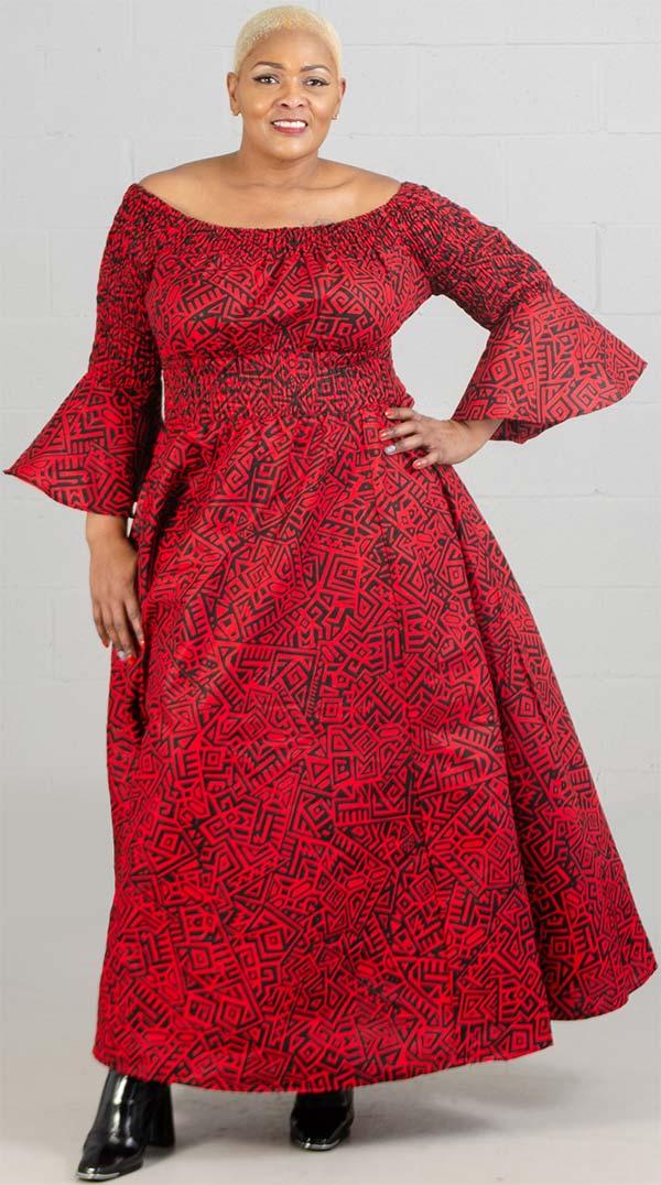 KaraChic 7556-Red/Black - Bell Sleeve Smocked Waist Dress In African Inspired Print