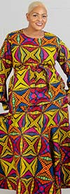 KaraChic 7559 - Bell Sleeve Two Piece Skirt Set In African Inspired Print Design