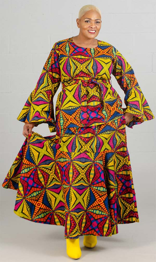 KaraChic 7559 - Bell Sleeve Two Piece Skirt Set In African Inspired Print Design