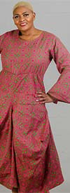KaraChic 7561A-Fuchsia/Green - Womens Bell Sleeve Print Dress