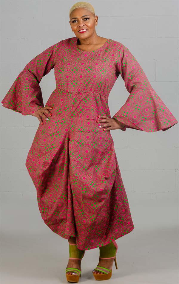 KaraChic 7561A-Fuchsia/Green - Womens Bell Sleeve Print Dress