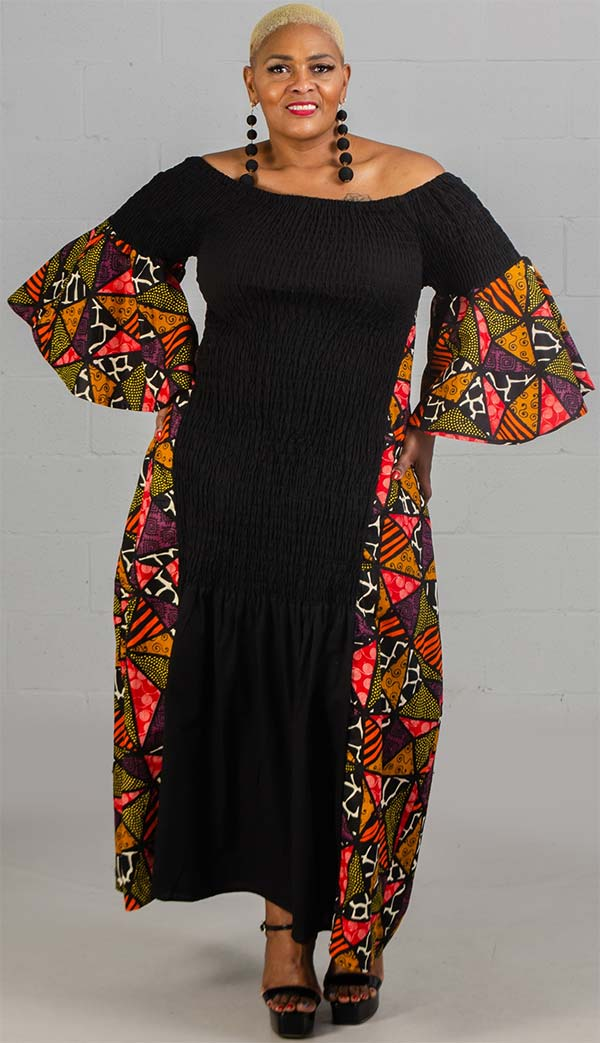 KaraChic 7564-Multi Print - Bell Sleeve Smocked Dress With African Inspired Circle Print Design