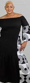 KaraChic 7564-Black/White - Bell Sleeve Smocked Dress With African Inspired Circle Print Design