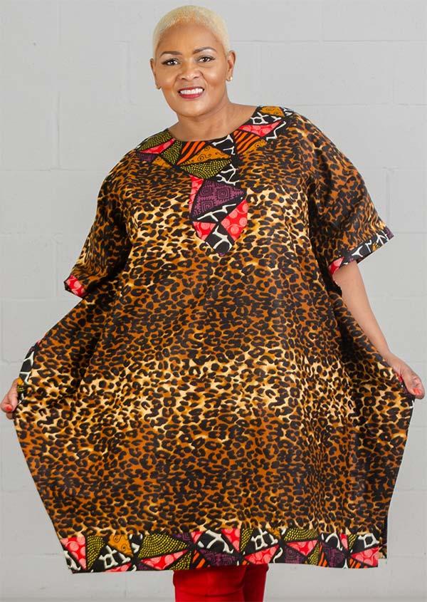 KaraChic 7565 - Womens Dress / Top In African Inspired Contrast Animal Print Design
