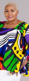KaraChic 7567-Blue / Multi - Womens African Style Print Square Neckline Top