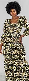 KaraChic 7594-Black / Yellow - Womens Three-Quarter Sleeve African Style Print Maxi Dress