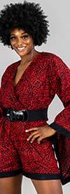 KaraChic 7596-Red / Black - Womens Mock Wrap Short Romper With Bell Sleeves